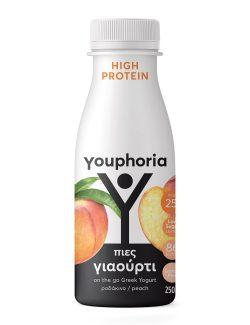 Youphoria High Protein 250ml με ροδάκινο Επιδόρπιο Στραγγιστού Γιαουρτιού
