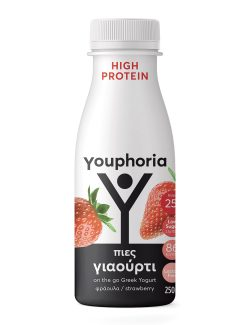 Youphoria High Protein 250ml με φράουλα Επιδόρπιο Στραγγιστού Γιαουρτιού